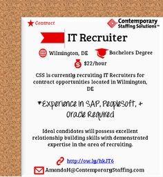 CSS Is #hiring IT Recruiters In Wilmington, DE L $22/hr L Email. Fl LResume  ServicesJacksonville ...