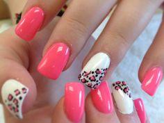 Cheeta and pink white nails