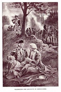 "Ellis's American History - ""WASHINGTON & LAFAYETTE IN CONSULTATION"" - Polychromatic - 1899"