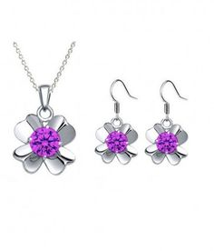 swarovski amethyst pendant amazon. Buy Now: http://www.glimmering.co.in/swarovski-crystals-amethyst-color-pendant-and-earrings-set-gs001am.html