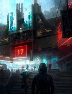 Very much like my cyberpunk cities. All pedestrian. Cyberpunk City, Futuristic City, Cyberpunk 2077, Sci Fi Environment, Environment Design, Sf Wallpaper, Space Opera, Sci Fi City, Steampunk