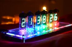 Lights will guide you home. Fluorescence by The VFD Collective is a vacuum fluorescent tube digital clock with amazing light effects and minimalistic design. Explore how colorful time can be. #lights #diy #decor #gadgets #technology #vintage #clock #colors