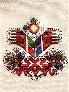 Folk Embroidery Glorious days coming toward you Cross Stitch Borders, Cross Stitching, Cross Stitch Patterns, Folk Embroidery, Embroidery Patterns, Machine Embroidery, Tatting Patterns Free, Leather Wallet Pattern, Antique Quilts