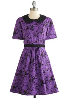 Howls and Owls Dress. Combine a dear design with an eerie pattern and you've got the sweet and spooky style of this purple A-line dress! #gold #prom #modcloth