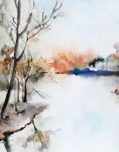 Landscape Watercolor Painting Art Print, Abstract Nature, Autumn Landscape Art,  Wall Art