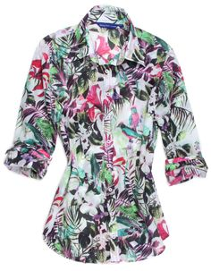 This could be just the one you are looking for! Beautiful 100% cotton tropical digital print in pink, magenta and green black on a background of white. Looks great with white or black crop pants and is certain to put you in that relaxed, easy Island mode.