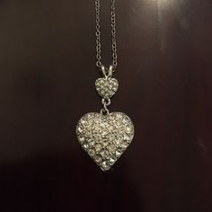 Express Rhinestone Heart❤️ Necklace Double layer hearts. I've kept it sealed in a bag so it wouldn't oxidize. Express Jewelry Necklaces