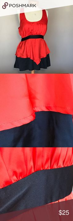 """Lucca Couture red and black 2 tier top. Size large Excellent condition Lucca Couture red and black satiny feel 2 tier top. Size large. Polyester. Zip back closure. 29"""" long Lucca Couture Tops"""