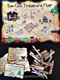 SANTA'S TREASURE MAP! With clues. You can use this as a one-day activity, or as a countdown to Christmas, with one clue and prize/activity each day.