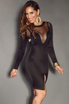 Stylish Black Mesh Fishnet Cutouts Open Slit Dress