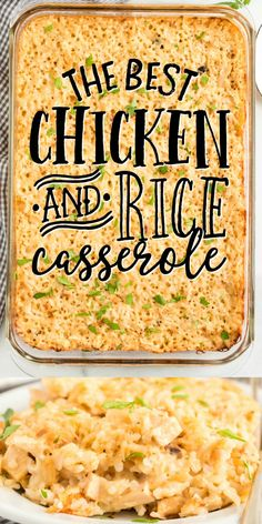Chicken Rice Bake, Creamy Chicken And Rice, Baked Chicken Recipes, Chicken Casserole With Rice, Rice Soup, Easy Casserole Recipes, Casserole Dishes, Main Meals, Cooking Recipes