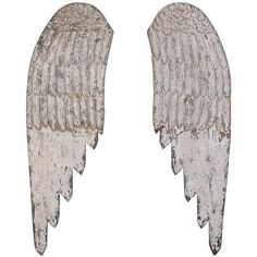 Wooden Angel Wings Wall Art - Set of 2 (670 PLN) ❤ liked on Polyvore featuring home, home decor, wall art, white wall art, white home decor, home decorators collection, wooden home decor and wood wall art