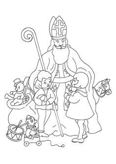 A colorier, une image de Saint Nicolas pendant une distribution de jouets