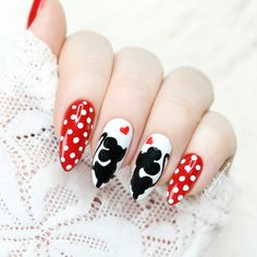 Mickey Mouse & Minnie Mouse Nails for Valentines. Red and White gel Rosalind and PaintGel SaviLand from Aliexpress. Tutorial Step by Step on my YouTube - https://youtu.be/voRAUK96fk4