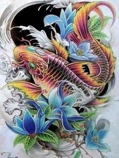 Enjoy curated & Just for Fun and Sharing! Pez Koi Tattoo, Koi Dragon Tattoo, Carp Tattoo, Small Dragon Tattoos, Koi Art, Fish Art, Japanese Tattoo Art, Japanese Art, Japan Tattoo Design