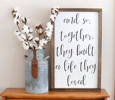 And So Together They Built A Life They Loved Large Brown Wood Sign Rustic Wood Signs Brown built Large life loved rusticlivi Sign Wood