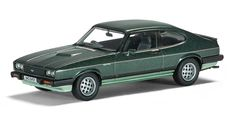 Vanguards 1:43 Ford Capri Diecast Model Car VA10812 This Ford Capri 2.8i Diecast Model Car is Green and features working wheels. It is made by Vanguards and is 1:43 scale (approx. 9cm / 3.5in long).  The Capri 2.8i was launched in July 1981 to replace the 3.0S and used the fuel injected and freer revving 'Cologne' V6. However, a 5-speed gearbox was then fitted in October 1982 and, although this made the Capri quieter and more efficient when cruising, many enthusiasts felt it diluted the… Ford Capri, Hot Wheels Cars, Diecast Model Cars, Ford Models, Scale Models, Product Launch, Spaces, Toys, Green
