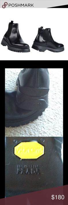 PRADA SPORT CALFSKIN CHELSEA BOOTS Worn only one time.  Small scuff on front (see pic 4), otherwise excellent condition.  This boots are super comfortable and will last forever. PRADA Shoes Ankle Boots & Booties