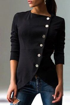 Chic Solid Color Round Collar Skew Buttoned Slit Coat For Women