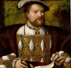 Portrait Henry VIII by a follower of Joos Van Cleve. The picture is a 16th Century replica of a painting by Joos van Cleve. The original Joos van Cleve portrait is in the Royal Collection. The portrait is thought to date to 1532 and pre-dates more widely-known portraits by Holbein.