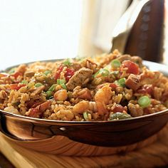 cooking light jambalaya - made ours with brown rice and subbed the chicken for more shrimp and turkey sausage. great recipe!