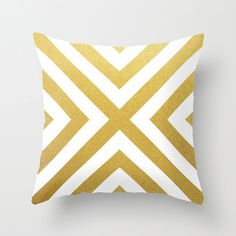 Gold X Pillow Cover