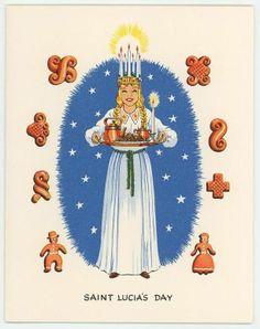 VINTAGE SWEDISH GIRL ST LUCIA DAY CHRISTMAS SAFFRON BREAD RECIPE CARD ART PRINT