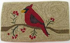 Image result for hooked rug cardinal
