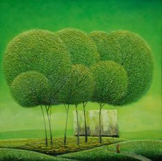 Artist - Vu Cong Dien    Title - Spring Medium - Oil on Canvas    Dimensions - 100x100cm    Status - Private Collection Tokyo