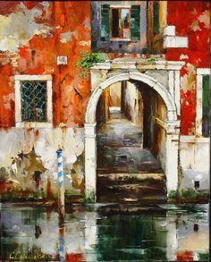 Russian artist Gleb Goloubetski | Venice 63x78 2003 — with Smita Baliga.