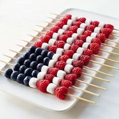 Berry Kabobs and other patriotic desserts perfect for Memorial Day weekend or your next outdoor party.