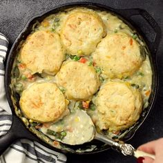 Vegetable Pot Pie Skillet with Cheddar Biscuit Topping - Budget Bytes