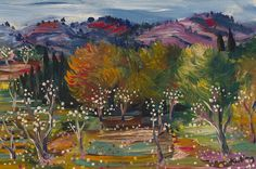 Moise Kisling (France 1891-1953)Arbres en fleurs (1952)oil on canvas 6.25 x 9.5 in.