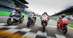 #Aprilia #RSV4 RF, #BMW #S1000RR, #Ducati 1299S #Panigale e #Yamaha #YZFR1M