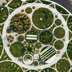 Landscaped circles accommodate different activities at the centre of the redeveloped Navy Yards in Philadelphia, designed by James Corner Field Operations.