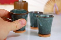 Slate Blue Shot Glass or Egg Cup by pagepottery on Etsy, $10.00