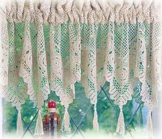 Crocheted Lace Curtains – Crochet For Beginners Crochet Curtain Pattern, Crochet Curtains, Lace Curtains, Curtains With Blinds, Crochet Chart, Thread Crochet, Crochet Motif, Crochet Kitchen, Crochet Home