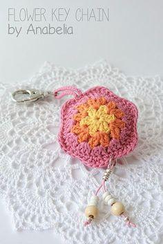 Crochet Flowers Design Flower crochet keychain by Anabelia Unique Crochet, Love Crochet, Beautiful Crochet, Crochet Yarn, Crochet Pouch, Crochet Keychain, Crochet Gifts, Crochet Puff Flower, Crochet Flower Patterns
