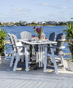 Amish Made Seven-Piece Poly Balcony Pub Set Take outdoor dining to new heights with the Amish Made Seven-Piece Poly Balcony Pub Set. Poly is eco friendly as it is made of recycled plastic. Pub Chairs, Outdoor Tables And Chairs, Outdoor Dining Furniture, Outdoor Dining Set, Outdoor Entertaining, Garden Furniture, Antique Furniture, Rustic Furniture, Amish Furniture