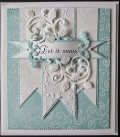 Tags: PartiCraft (Participate In Craft): Let It Heartfelt Creations Delicate Holly Swirl stamp heat embossed in white and Ornamental Add On Holly Die from ? Holiday Cards, Christmas Cards, Prim Christmas, Karten Diy, Spellbinders Cards, Embossed Cards, Heartfelt Creations, Winter Cards, Creative Cards