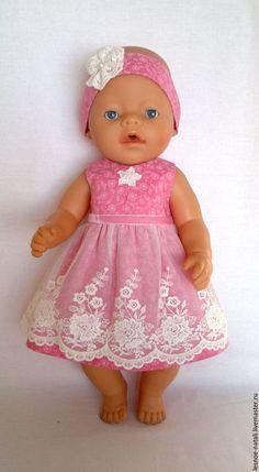 Одежда для кукол ручной работы. Ярмарка Мастеров - ручная работа. Купить Платье с кружевом для беби бон. Handmade. Коралловый, кнопки