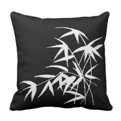 black and white tropical bamboo design pillows
