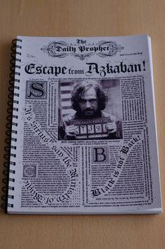 """Cuaderno anillado con tapa del diario El Profeta """"Escape de Azkaban"""" #HarryPotter"""
