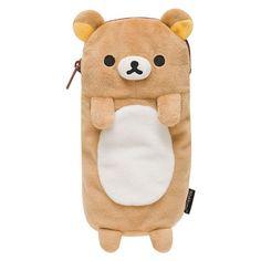 San-X Rilakkuma plushy pencil pouch / case. Size about 7.75 x 4.75 x 3 inch. It can hold iPhone inside. San-X 2015