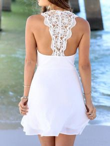 White Lace Insert Chiffon Dress