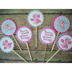 Pink Panther Cupcake Toppers or Gift tags. | Timberlysdesigns - Seasonal on ArtFire