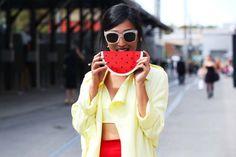 Watermelon purse!!  - Street style at Australian fashion week MBFWA 2014