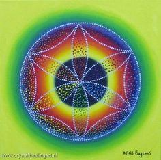 Schilderij levensbloem / lotusbloem van CrystalHealingArt op Etsy, €69.00