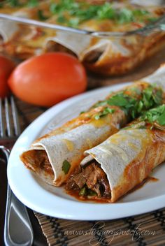 Skinny Slow Cooker Beef Enchiladas: a delicious dinner that makes a bonus meal: French Dip Sammies