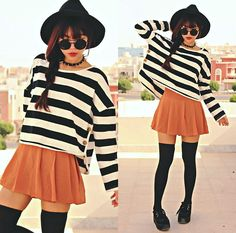 Wide Brim Hat, Round Sunglass, Spike Necklace, Sophiscat Striped Buttoned Hem Tee, Sophiscat Pleated Chiffon Skort, Creepers